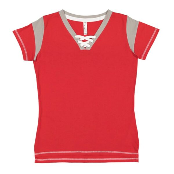 LAT Apparel Ladies Game Day Lace-Up Tee