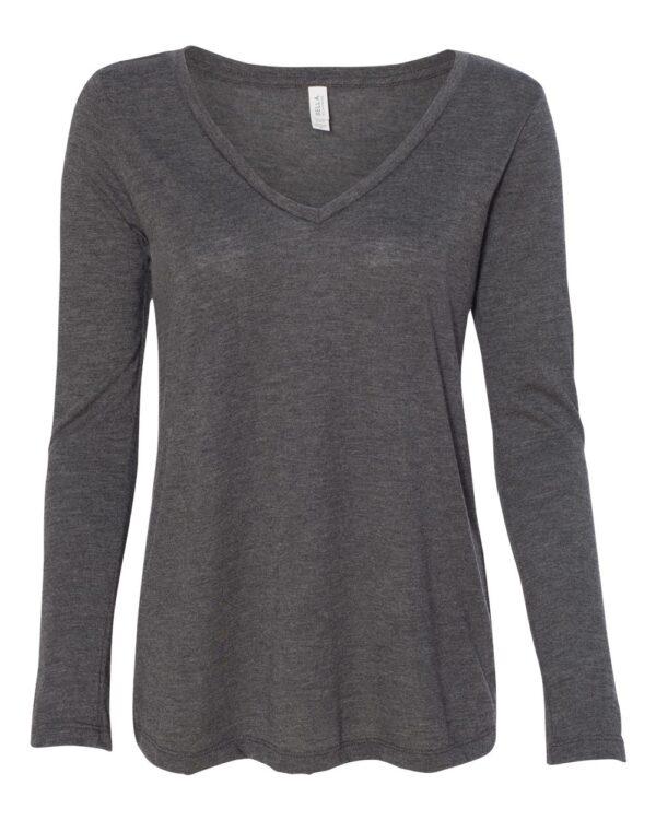 BELLA + CANVAS Women's Flowy Long Sleeve V-Neck T-Shirt