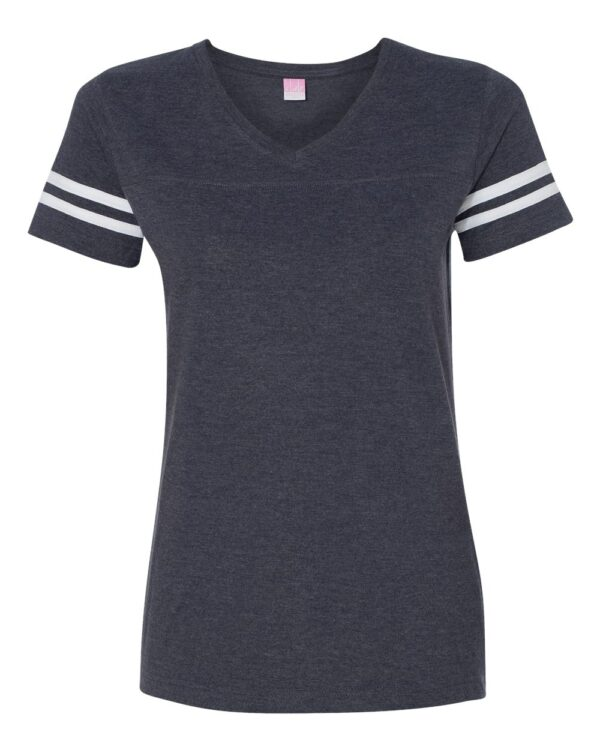 LAT Apparel Women's Football V-Neck Fine Jersey T-Shirt