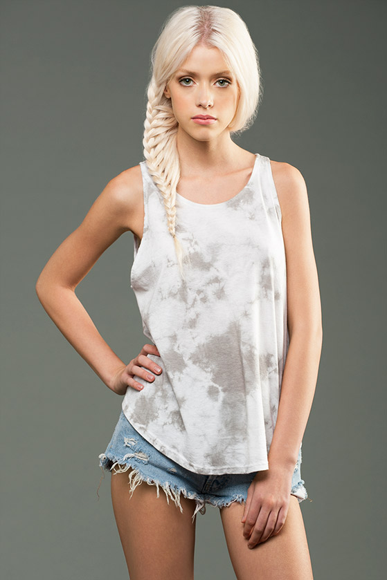 MicroModal Womens Micro Jersey Marble Dyed High Neck Tank