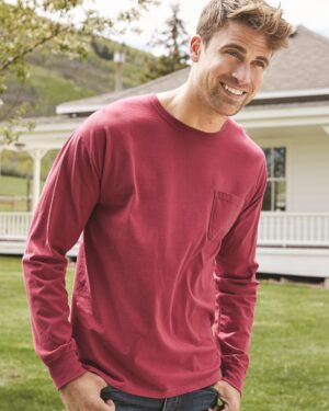 Garment-Dyed Long Sleeve T-Shirt With a Pocket
